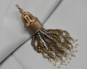 Antique / Vintage Style Gold Toned Tassel Pendant 1 Piece One of a Kind