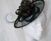 Black Sinamay Saucer Curl Feather and Chocolate Brown & Pearl Cecily Formal Wedding Derby Ascot Fascinator Hat -  Made to Order