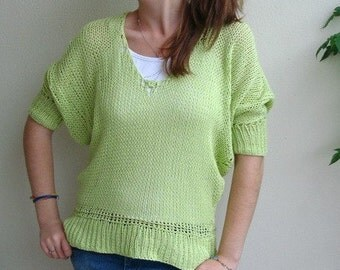 Hand knitted Sweater 4/3 sleeved Knit Spring Sweater Loose Knit Women's Sweater