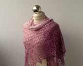 15% OFF Lace shawl - gradient pink - claret hand knitted luxurious merino and silk lace shawl