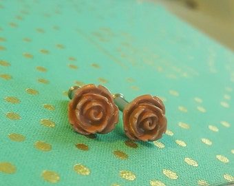 Grey and Tan Rose Flower Plugs Gauges 10g , 8g t365