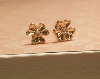 Wedding Bridal Prom Gold Rhinestone Flower Stud Plugs Gauges 10g, 8g  t639