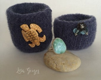 Indigo Wool Little Felted Bowls Small Knitted Treasures Tea Light Holder