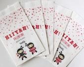 Valentines Ninja Treat bags, preschool goodie bags, kids goodie bags, birthday loot bags