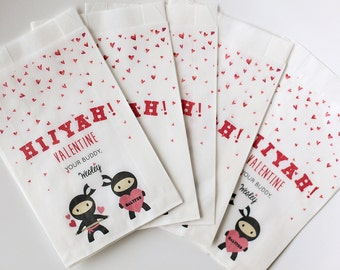 Valentines Ninja Treat bags, preschool goodie bags, kids goodie bags, birthday loot bags