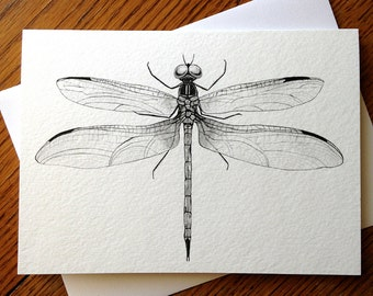 Black and White Illustrated Dragonfly 5 x 7 Blank Card
