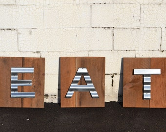 Reclaimed Barn Wood Sign, Wooden Eat Sign, Rustic Wall Decor,  Restaurant Wall Art, Cottage Chic Sign, Vintage Barn Wood Sign