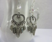 Labradorite Crystal Earrings Chandelier Silver Hearts Boho Free Shipping