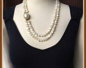Vintage Mother of Pearl Necklace, Natural, Double Strand, Weight 4.6 oz., Off White, Pastel Cream, Clasp Pin, 1950's 1960's