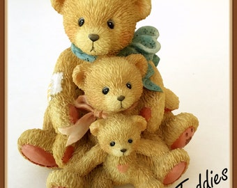 "Cherished Teddies Figurine, Theadore, Samantha, and Tyler, ""Friends Come In All Sizes"", Vintage 1991"