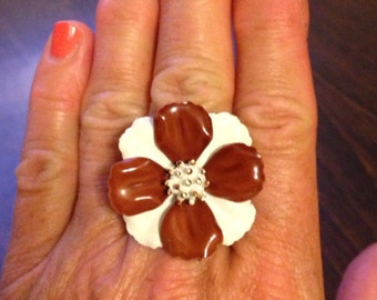 ENAMEL FLOWER RING, Upcycled Jewelry, Brown & White, From 1960's Earring, Large, Repurposed Jewelry, Adjustable Band, Under 10 Dollars
