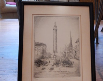 Don Swann Baltimore Framed Numbered Pencil Signed Etching Washington Monument Baltimore Mt. Vernon