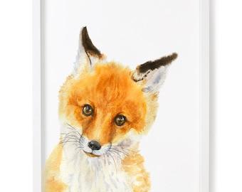 Baby Fox Print, Woodland Nursery, Fox Print, Woodland Baby Decor, Nursery Forest Art