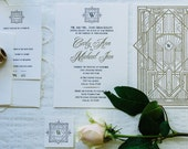 "Deco Wedding Invite, Art Deco Style, Wedding Invitation Suite ""The Gatsby""- (20 Invites, RSVP Cards, Envelopes, and Return Address Printing)"
