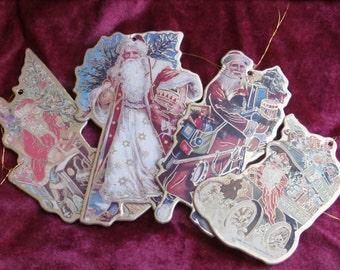4 Santa Claus Die Cut Cardboard Ornaments, Ornate Decorations Vintage 1980s