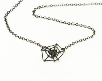 Spider web necklace with Victorian French jet bees black spiderweb silver
