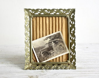 Small Picture Frame, Vintage Metal Photo Frame, Shabby Chic Decor