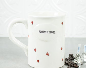 Valentine's Heart Coffee Mug Modern Ceramic Minimal White with tiny hearts Forever Loved gift of love Home Decor Tea Cup Serving for her mom