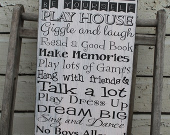 Treefort Sign Custom Clubhouse little girls room decor  Treehouse Fort Play house, Play room Typography Word Art Sign