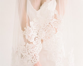 Fingertip Length Single Tier Veil Edged With Corded Lace, Wedding Veil, Bridal Veil, Cathedral Veil, Chapel Lace Veil, Lace Veil, Ruby Veil