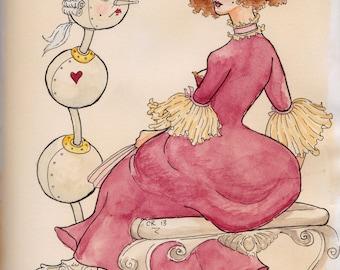 erotic art deco illustration original art by cavigliascabinet