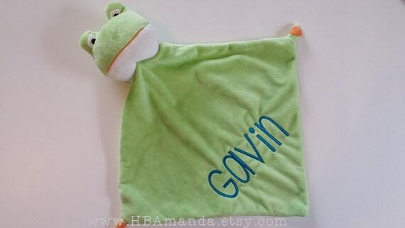 Green Frog Minky Blanket - Monogrammed Froggie Blankie - Monogram Baby Gift - Security Blanket