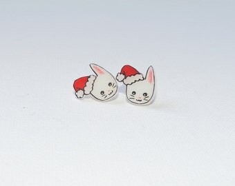 Christmas bunny stud earrings