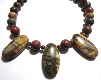 Picasso Jasper Necklace with Picasso Jasper Beads and Sterling
