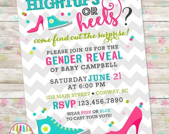 hightops or heels gender reveal sex reveal party boy or girl blue - Gender Reveal Baby Shower