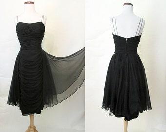"Stunning ""Ceil Chapman"" Designer 1950's Black Silk Chiffon Cocktail Party Dress w/ Spaghetti Straps Rockabilly VLV Pinup Girl Size-Medium"