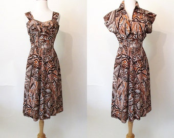 "Adorable 1950's Hawaiian Print Cotton Dress w/ Matching Bolero by ""Winifred Inn Hawaii"" Rockabilly Tiki VLV Pool Party Size-Medium"