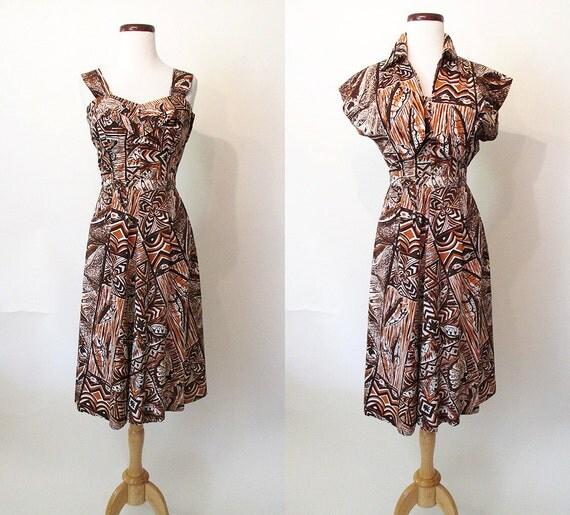 "Adorable 1950's Hawaiian Print Cotton Dress w/ Matching Bolero by ""Winifred Inn Hawaii"" Rockabilly Tiki VLV Pool Party Size-Medium"