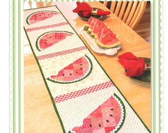 Patchwork Watermelon Quilted Table Runner Pattern - Shabby Fabrics Quilt Pattern - Summer Table Decor