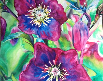 "Framed Original Fine Art - PASSION - magenta pink flowers - 12"" X 12""  Original Watercolor Painting Christie Marie Elder"