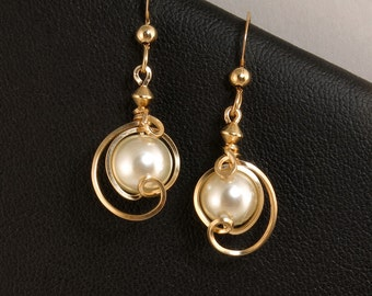 White Pearl Gold Earrings, 14k Gold Filled Small Dangle Majorca Pearl Earrings