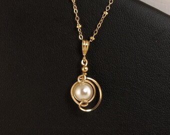 White Pearl Drop Pendant Necklace, Small Pearl Gold Pendant and Chain Necklace, Unique Pearl Gift For Her, Pearl Wedding Jewelry