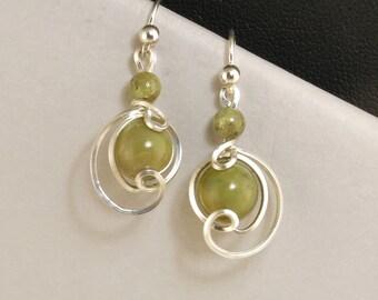 Olive Green Fine Silver Drop Earrings, Small Sage Green Jasper Asymmetrical Wire Dangle Earrings
