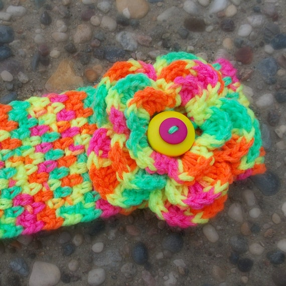 Crocheted Earwarmer Winter Headband with Flower- Dayglow, Neon, Button, Ski, Fall, Winter, Size: teen-adult