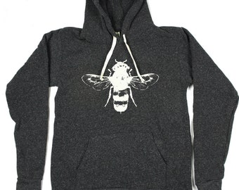 Bumble Bee Hoodie - Unisex - Heather Black Honey Bee Hoodie - Black Pullover Hoodie - S, M, L, XL, 2XL