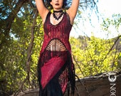 "SPECIALTY/Limited Edition: The ""Saloon Girl"" Willow Set in Red Lace with Extra Long Black Fringe by Opal Moon Designs (Size S, M, L)"