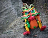 Polymer Clay Dragon 'Fiesta' Inspired by Chinese Legend Folklore - Limited Edition Handmade Collectible