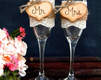 Mr. & Mrs. Glasses Champagne Flutes Rustic Woodland Shabby Chic Burlap and Lace