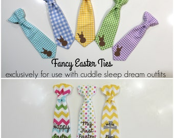 ADD ON. Fancy Easter Ties: Bunny Tie, Writing, My First Easter, or He is Risen.