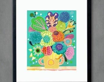 Provenza flowers- Fine Art Print. Vase of flowers, art painting flowers, bohemian, folk, funky, naive, primitive.