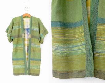 Vintage Kimono Jacket * Woven Cocoon Coat * Green Tunic Jacket * Small - Medium