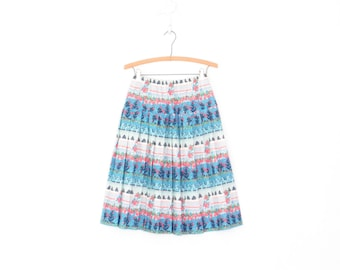 Vintage 70s Skirt * 1970s Midi Skirt * Pleated Folk Print Skirt * XS / Small