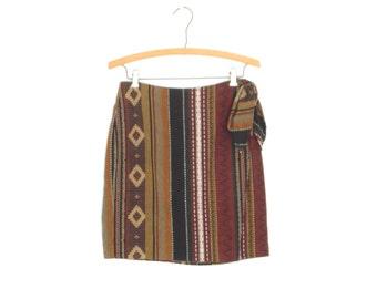 90s Skirt * Wrap Skirt * Southwestern Woven Skirt * Small - Medium