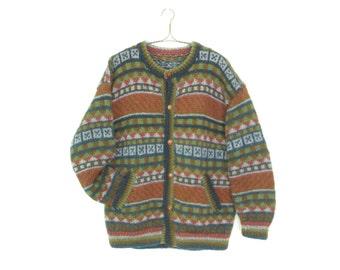 Vintage Cardigan Sweater * Chunky Knit Button-up Sweater * Pattern Cardi * Large XL