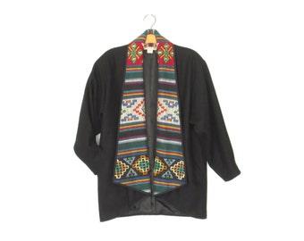 Embroidered Folk Jacket * Vintage Wool Coat * 90s Folk Embroidery Coat * Medium
