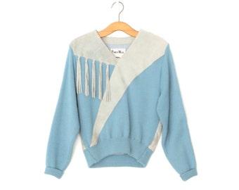 Fringe Leather Sweater * Pioneer Shirt * Blue Suede Shirt * Medium / Large